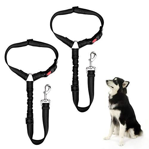 Fulsence Cinturón de Seguridad de Coche para Perros, Arnés del Cinturón de Nylon Ajustable Universal, con Absorción de Choque Elástica para Trasportar Mascotas, Utilizado como Correa para Perros ✅