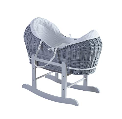 Kinder Valley 100% White Cotton Waffle Grey Wicker Pod Moses Basket with Deluxe Grey Little Gem Rocking Stand and Mattress