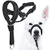 GoodBoy Dog Head Halter with Safety Strap - Stops Heavy Pulling On The Leash - Padded Headcollar for Small Medium and Large Dog Sizes - Head Collar Training Guide Included (Size 3, Black)