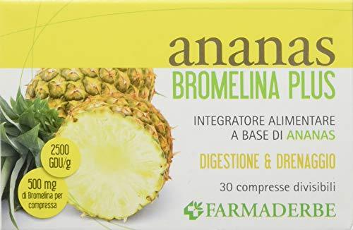 Farmaderbe 67977 Ananas Bromelina Plus, Integratore Alimentare, 30 compresse