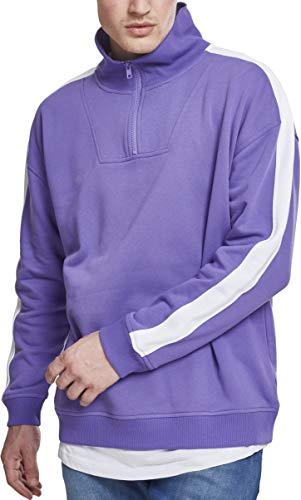 Urban Classics Oversize Sweat Shoulder Stripe Troyer Sudadera, Multicolor (Ultravioleta/White 01461), S para Hombre