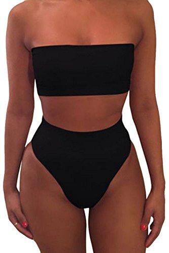Landove Costumi da Bagno Due Pezzi Donna Sexy Bikini a Vita Alta Senza Spalline Costume da Mare Estate Moda Tankini da Mare Swimsuit Monokini Bathing Suit Beachwear