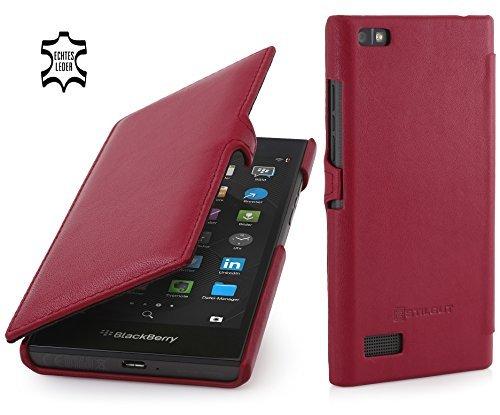 StilGut Book Type Hülle mit Clip, Hülle Leder-Tasche für BlackBerry Leap. Seitlich klappbares Flip-Hülle aus Echtleder für BlackBerry Leap, Rot Nappa
