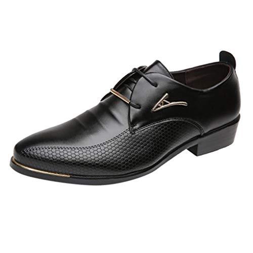 Business Schuhe für Herren/Skxinn Männer Anzugschuhe Kunstlederschuhe Schuhe Casual Schnürhalbschuhe Hochzeit Atmungsaktiv Outdoor Party Herrenschuhe 39-47 EU Ausverkauf(Schwarz,42 EU)