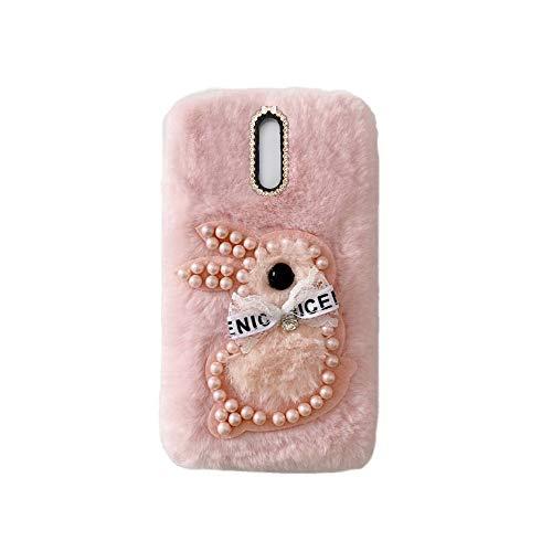 YHY Samsung J7 Plus Estuche Teléfono Móvil Estilo Lindo 3D Perla Linda Peluche De Conejo para Samsung Galaxy J7 Plus Rosado