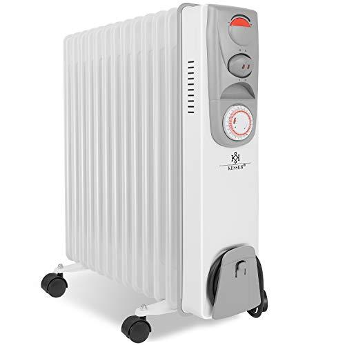 KESSER® Ölradiator - Elektrische Heizung mit 13 Rippen 2500W Öl Radiator Elektroheizung Mobil Timer Lüfter Abschaltautomatik stufenlose Temperaturregelung Überhitzungsschutz