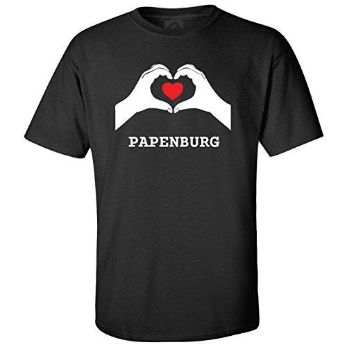 JOllify T-Shirt PAPENBURG T1246 - Farbe: schwarz - Design 7: Hände Herz - Größe XXXL 3XL