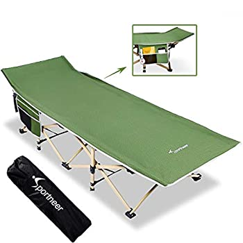 Sportneer Camping Cot Max Load 450 LBS 2 Side Large Pockets Portable Folding Camp Cots Wide Sleeping Cot Bed with Carry Bag for Adults Teen Camping Beach BBQ Hiking Backpack Office  Green