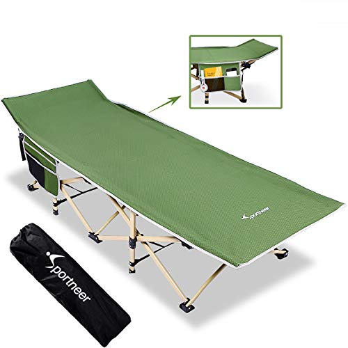 Sportneer Camping Cot, Max Load 450 LBS, 2 Side Large Pockets Portable Folding Camp Cots Wide Sleeping Cot Bed with Carry Bag, for Adults, Teen, Camping, Beach, BBQ, Hiking, Backpack, Office (Green)