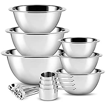 Stainless Steel Mixing Bowls - JoyTable Mixing Bowls Set of 14 - Large Stainless Mixing Bowls For Kitchen - Nesting Metal Mixing Bowls Set With Measuring Cups And Spoons - Bowls For Cooking or Baking