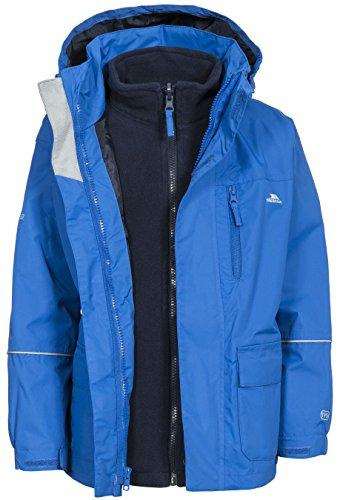 Trespass Prime II, Electric Blue, 7/8, Wasserdichte 3-in-1 Jacke mit Kapuze, herausnehmbare Innenjacke aus Fleece für Kinder / Unisex / Mädchen und Jungen, 7-8 Jahre, Blau