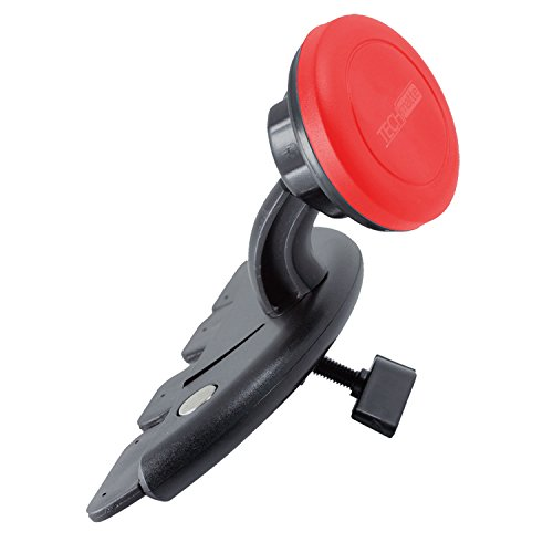 TechMatte MagGrip Universal Magnetic CD Slot Car Mount with Extra Strong Magnetic Grip (Red)