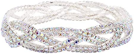 So Pretty Rhinestone Stretch Bracelet Silver Plated AB Color Crystal Bridal Bracelet for Women product image
