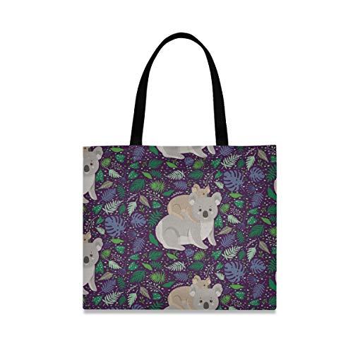 Lindo bolso de lona de animales de Koala de dibujos animados para mujer, bolsas de comestibles reutilizables grandes con bolsillo interior bolsa de compras para gimnasio, playa, viajes al aire libre