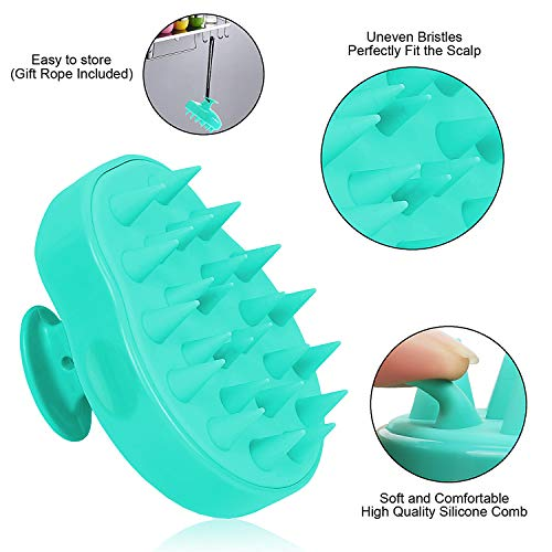 Hair Scalp Massager Shampoo Brush, FReatech [Wet & Dry] Manual Head Scalp Massage Brush, Soft Silicone Bristles Care for The Scalp, Exfoliate and Remove Dandruff, Promote Hair Growth - Green