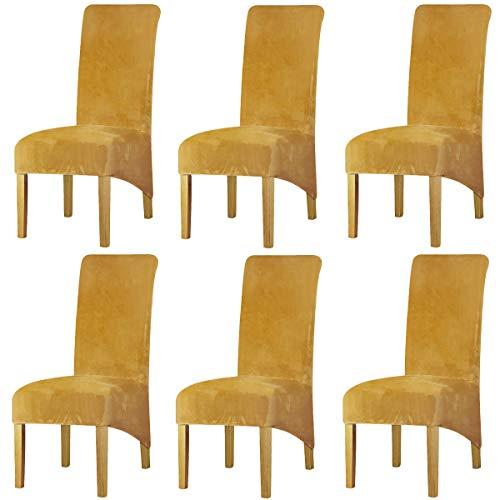 LANSHENG Stretchy XL Stuhlbezüge für Esszimmerstühle, Stretch Spandex mit Gummiband Stuhlbezug,Velvet Large Dining Chair Schonbezüge für Restaurant Hotel Party Bankett (Senf,6er Set (Groß))