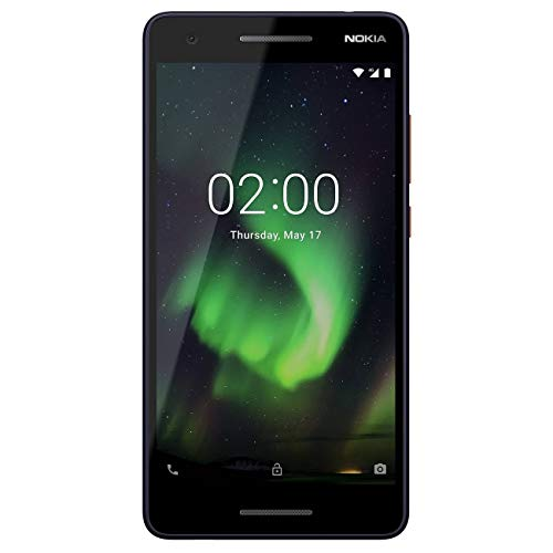 """Nokia 2.1 - Android 9.0 Pie (Go Edition) - 8 GB - Single SIM Unlocked Smartphone (AT&T/T-Mobile/MetroPCS/Mint) - 5.5"""" Screen - Blue/Silver - International"""