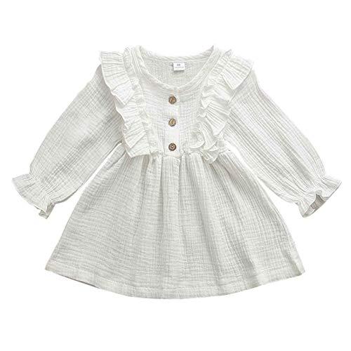 Vestido cómodo y Exquisito 0-5Y niño niños bebé niña Vestido de otoño Volantes de Manga Larga algodón sólido Ropa de Cama Casual Vestido de Vestir (Color : White, Kid Size : 4T)