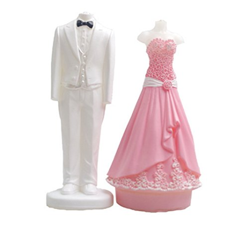 Best Buy! Youzpin Bride and Groom Wedding Dress Set Silicone Mold,Fondant,Chocolate,Ice Cube,Jelly,Cake Decorating Kitchen DIY Baking Tools,Candle,Handmade Soap,Clay Art Mould,Random Color
