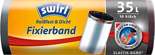 Swirl Fixierband-Müllbeutel, 35 Liter, 1 Rolle mit 10 Beuteln, Anthrazit