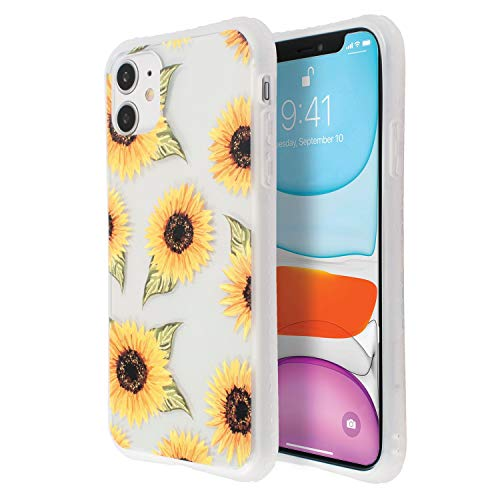 Printed Floral Case Compatible with iPhone 11 (6.1 inch), Sunflower Pattern Hard PC Back with TPU Bumper Cover for Teen Girls Womens Clear, by Insten