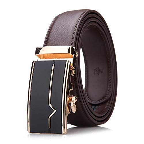 TWFY Cinturón de Hombre de Cuero Clásico Visita de Cuero Ocasional de los Hombres de la Correa con Hebilla Deslizante 1.3 En Cinturón de Vestir Casual (Color : Coffee, Size : 125)