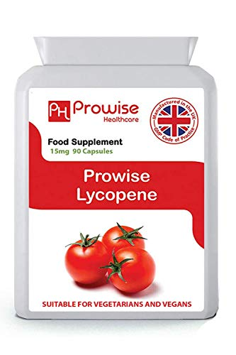 Lycopene 10% Beadlet 15mg 90 Capsules - UK Manufactured | GMP Standards by Prowise Healthcare - Suitable for Vegetarians and Vegans