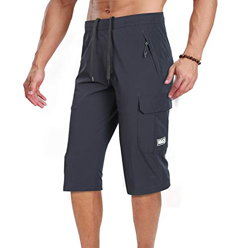 Men's Outdoor Hiking Shorts Quick Dry Stretchy 3/4 Capri Pants Cargo Shorts Male Blue