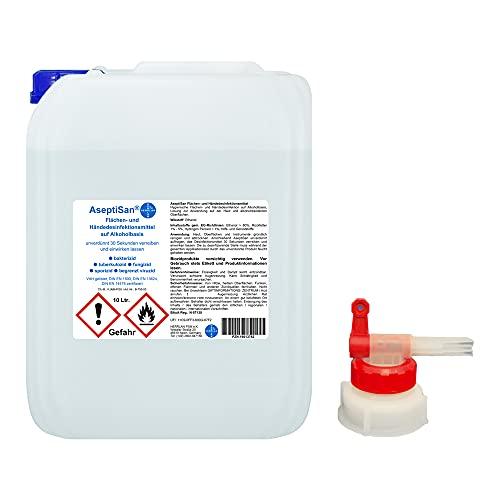 AseptiSan - VAH gelistet - 10 Ltr. Kanister inkl. 1 x AGH Flächen- und Händedesinfektionsmittel Pharmazentralnummer-16613762 HERRLAN Qualität Made in Germany