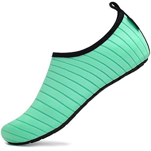 SAGUARO Buty do kąpieli, buty do wody, buty neoprenowe, damskie i męskie, buty do pływania, dla kobiet, buty plażowe, buty do surfowania, buty na boso, zielony - Plaża zielona - 38/39 EU