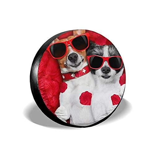 Cubierta de neumático para el día de San Valentín rosa perro pareja universal a prueba de polvo impermeable rueda de repuesto cubierta protectora