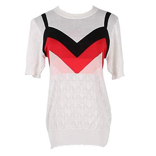 Vrouwen Contrast Nep Twee Stuk Lingge Korte mouw T-Shirt Ijs Zijde Gebreide Top, Wit, s