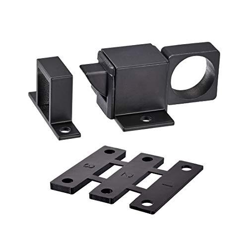 sourcing map Perno de Puerta, Pestillo de seguridad de resorte de bloqueo de rebote automático de ventana de aleación de aluminio (negro)