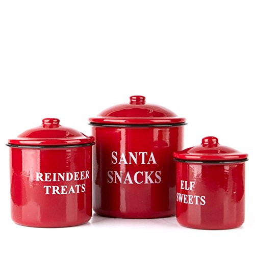 Factory Direct Craft Set of 3 Christmas Snacks Red Enamelware Canister Set for Santa Cookies and Holiday Desserts