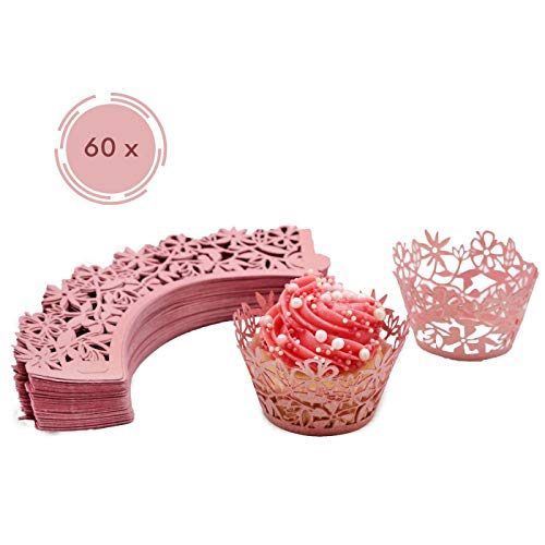 Melidoo 60 Stück Cupcake Wrappers Papierförmchen Muffin Förmchen für Geburtstage, Hochzeiten, Baby Shower (Pink/Rosa)