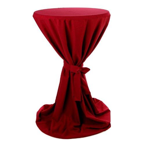 Hans-Textil-Shop Stehtischhusse 70-75 cm Bordeaux Rot Polyester (Bügelfrei, Gewebt, Alle Anlässe, Mit Schleife)