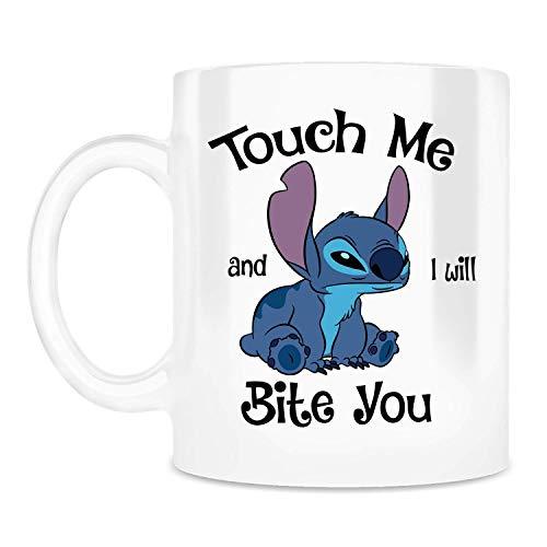 N\A Taza Touch Me and I Will Bite You, Divertida Caricatura de Stich, Halloween, cumpleaños, Amigos, Familia, Tazas de café de cerámica Que Dicen Blanco, 11 oz