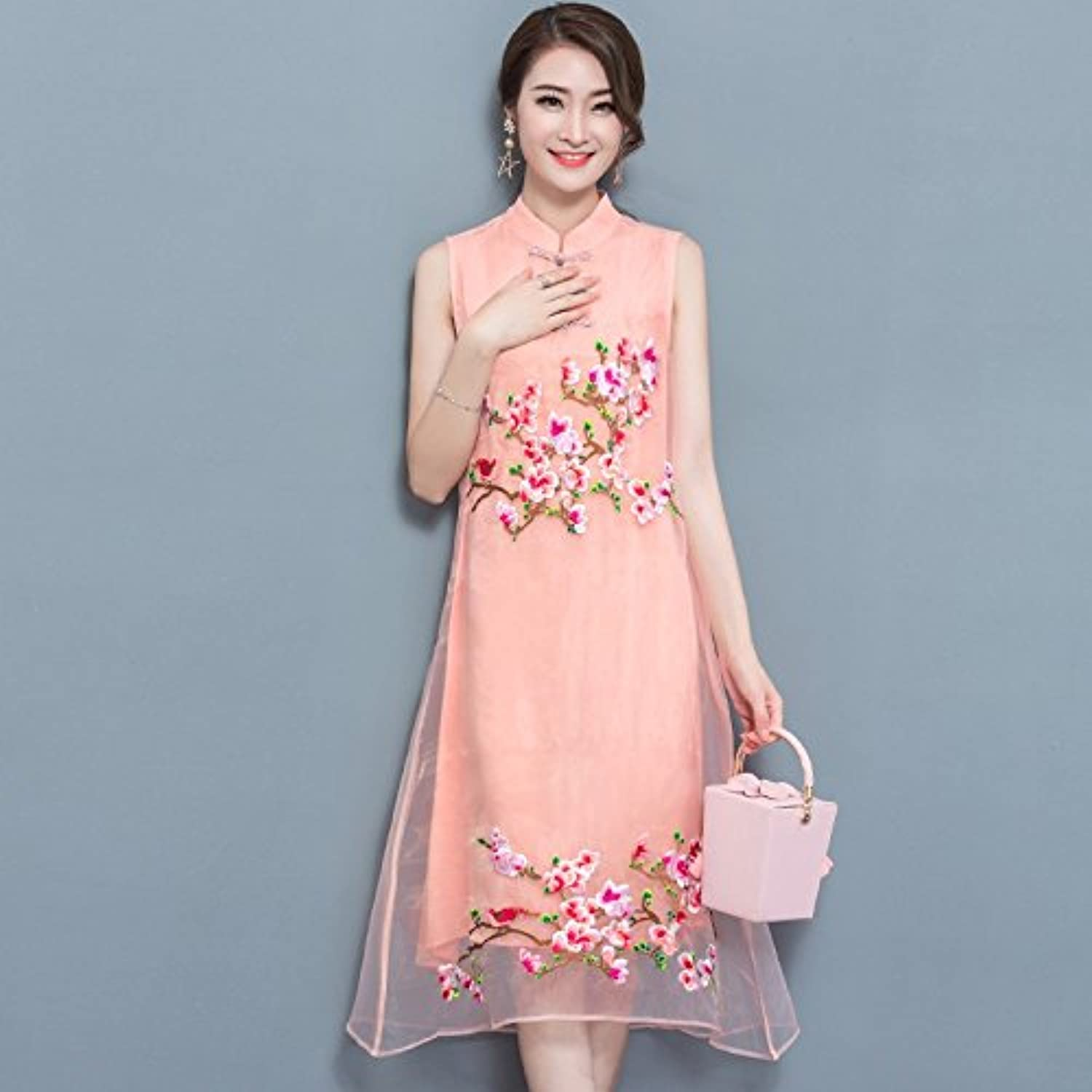 XIURONG Cheongsam Dress Embroidered Dress in Spring and Summer