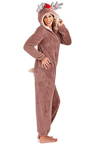 Damen Onesie / einteiliger Schlafanzug mit 3D-Ohren Gr. Large ( 44-46), rentier