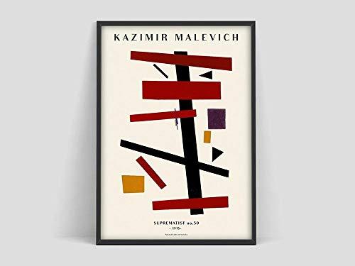 Póster de Kazimir Malevich, Malevich Suprematist 50, póster de arte minimalista, póster de arte moderno, pintura en lienzo sin marco M 70x100cm