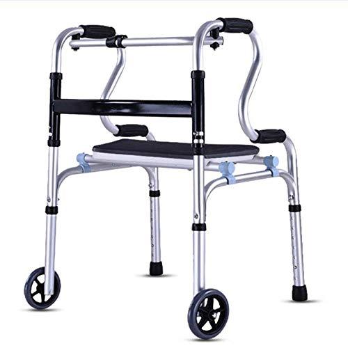 Ayuda para Caminantes estándar Marco para Caminar con Ruedas Asiento Reposabrazos Soporte Aleación de Aluminio Gruesa Rehabilitación Vida Diaria Auxiliar para Ancianos discapacitados