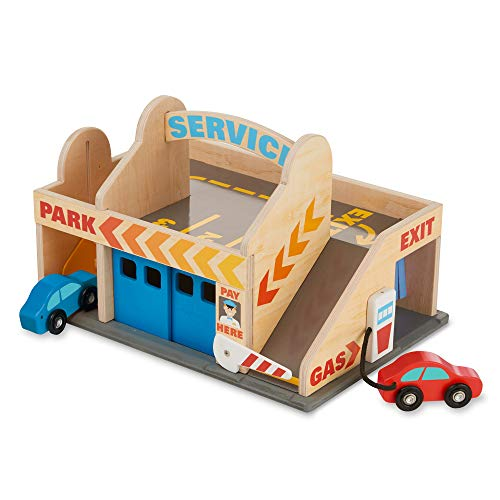 Image of Melissa & Doug Service Station Parking Garage (Vehicles, Functional Elevator, Easy to Carry, 6 Pieces, Great Gift for Girls and Boys - Best for 3, 4, 5, and 6 Year Olds)