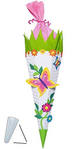 alles-meine.de GmbH BASTELSET Schultüte -  Schmetterling Blumen  - 85 cm - mit / ohne Kunststoff Spitze - Zuckertüte zum selber Basteln - 6 eckig Blumenranke Mädchen