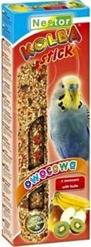 Nestor Mangeoire à oiseaux perruches avec fruit–Lot de 5x 2Stix Sticks