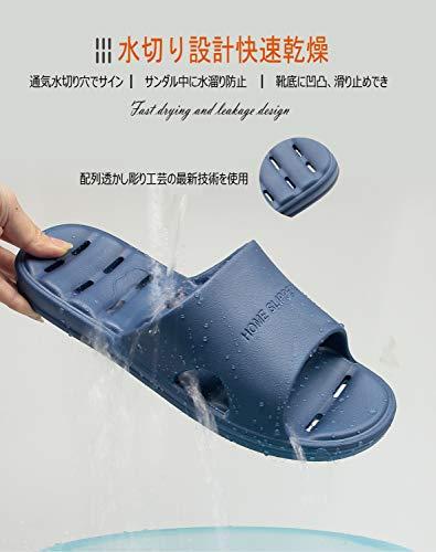 [GuanZo]スリッパサンダルベランダトイレスリッパ水切り超軽量滑り止め静音通気抗菌防臭衛生履きやすい男女兼用室内用通年適用(L,ダークブルー)