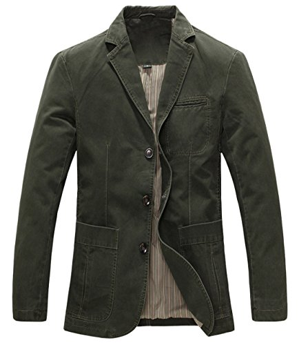 chouyatou Men's Casual Three-Button Stripe Lined Cotton Twill Suit Jacket (Large, Army Green)