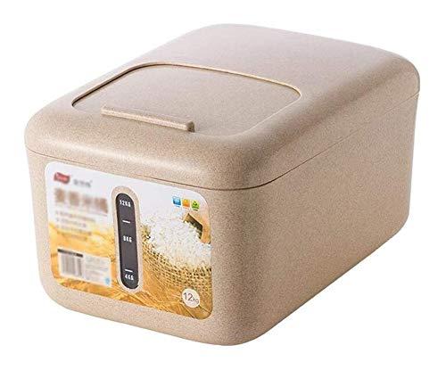 QFLY Tarros Cocina Los contenedores de Cereales de arroz Caja de Almacenamiento 12kg Sello de plástico Espesa la Prueba de Humedad de la Cocina de Almacenamiento de contenedores Botes Cristal Cocina