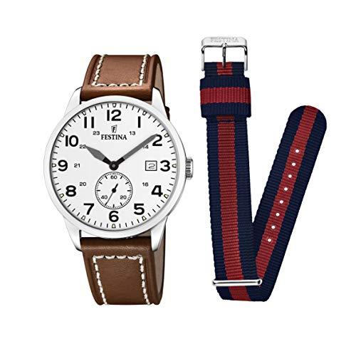 Festina Herren Analog Quarz Uhr mit Leder Armband F20347/5