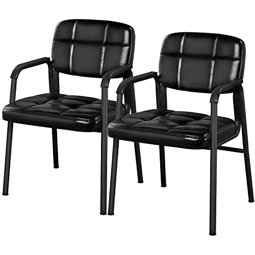 Yaheetech Stacking Arm Chairs with Upholstered Leather Seat and Ergonomic Lumber Support for Office School Church Lobby Guest Reception, Set of 2, Black