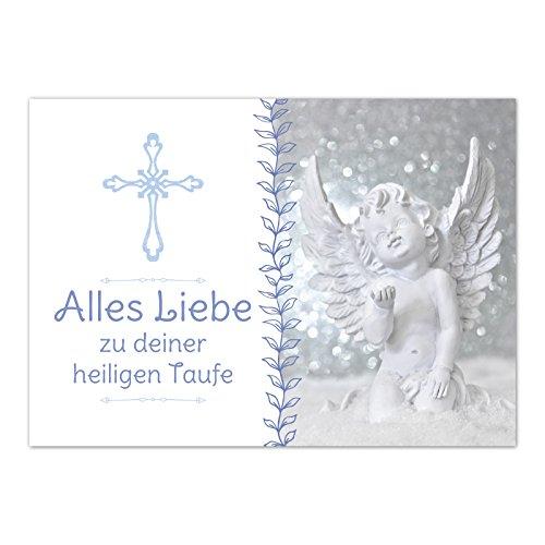 Glückwunschkarte Taufe mit Umschlag/Engel blau/Taufkarten/Karte für Glückwünsche/zur Feier